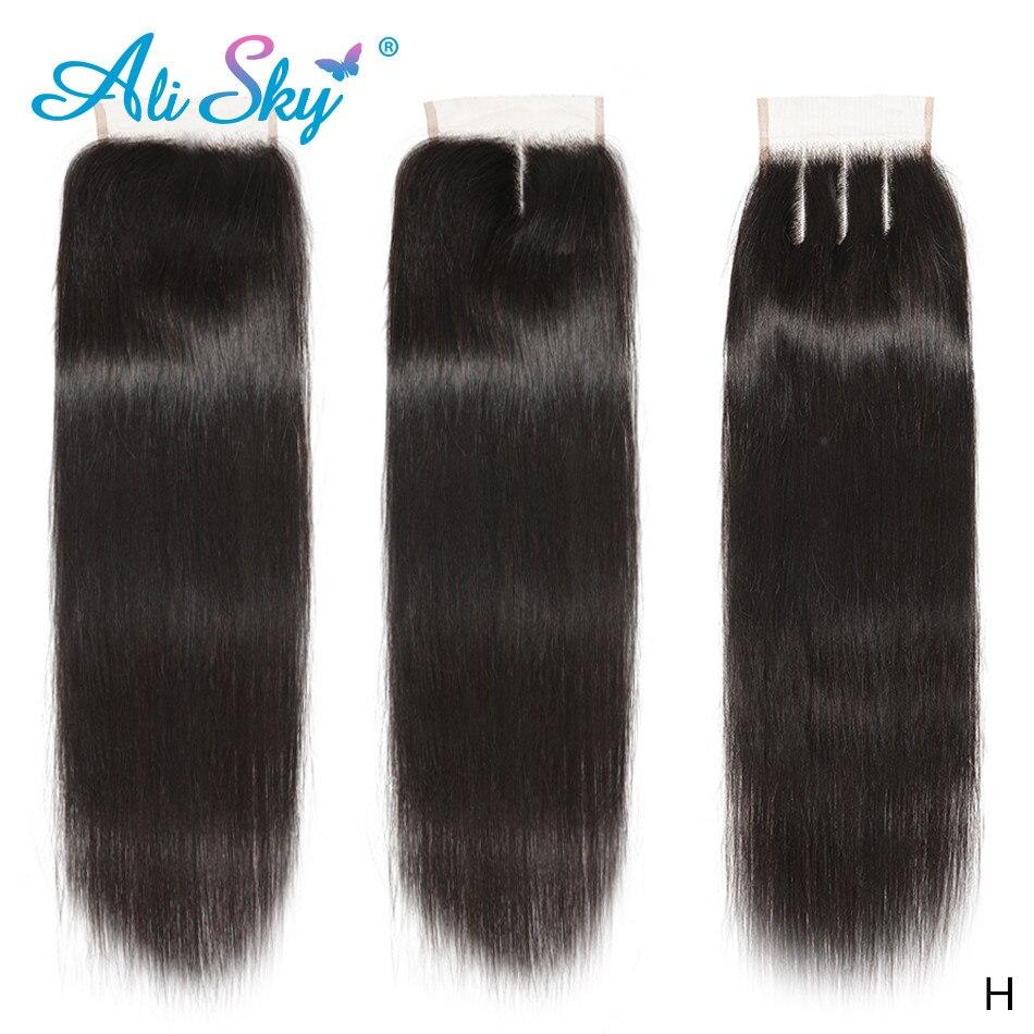 Alisky 4x4 Straight Lace Closure 100% Human Hair Closure Brazilian Hair Weaving Remy Hair Straight Transparent Frontal Closure